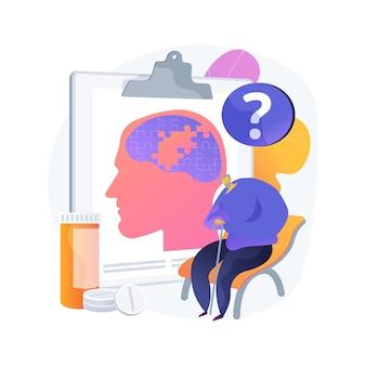 Ilustracja wektorowa abstrakcyjna koncepcja choroby alzheimera. diagnostyka amnezji, demencja, leczenie choroby alzheimera, choroba zwyrodnieniowa, problem dotage, choroba ludzi w podeszłym wieku, abstrakcyjna metafora utraty pamięci.