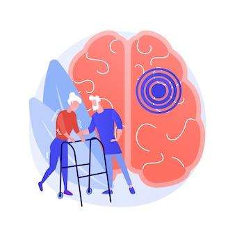 Ilustracja wektorowa abstrakcyjna koncepcja choroby parkinsona. przyczyna i leczenie choroby parkinsona, problem depresji wiekowej, objawy choroby, postępujące zaburzenia układu nerwowego, abstrakcyjna metafora drżenia.