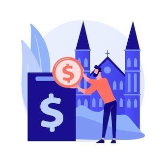 Ilustracja wektorowa abstrakcyjna koncepcja darowizny. fundusz darowizn, darowizny na cele charytatywne, usługi non-profit, upominki rzeczowe, darowizny w postaci pieniędzy podlegających odliczeniu od podatku, abstrakcyjna metafora wsparcia organizacji charytatywnych.