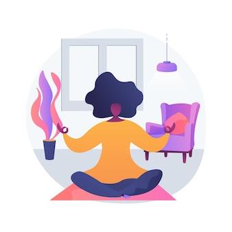 Ilustracja wektorowa abstrakcyjna koncepcja domu jogi. trening kwarantanny domowej, zajęcia jogi online, stres odprężający, uważność, transmisje na żywo, pobyt w domu, abstrakcyjna metafora dystansu społecznego.