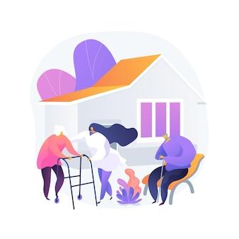 Ilustracja wektorowa abstrakcyjna koncepcja domu opieki. dom opieki, dom opieki, fizjoterapia, opieka nad osobami starszymi, długoterminowy pobyt emeryta, abstrakcyjna metafora domu wypoczynkowego.