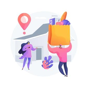 Ilustracja wektorowa abstrakcyjna koncepcja dostawy żywności. dostawa do lokalnych sklepów, zamówienie online na zakupy spożywcze, bezpieczna usługa żywnościowa, pobyt w domu, odległość społeczna, abstrakcyjna metafora kwarantanny.