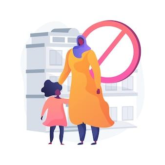 Ilustracja wektorowa abstrakcyjna koncepcja dyskryminacji rasowej. uchodźcy, łamanie praw obywatelskich, imigracja, kolor skóry, ochrona dzieci, dyskryminacja religijna, abstrakcyjna metafora ksenofobii.