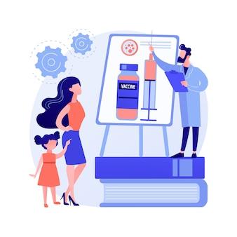 Ilustracja wektorowa abstrakcyjna koncepcja edukacji szczepień. informacje o szczepieniach, edukacja na temat szczepionek, edukacja rodziców, szczepienia dzieci, abstrakcyjna metafora programu zdrowia publicznego.