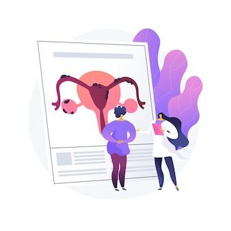 Ilustracja wektorowa abstrakcyjna koncepcja endometriozy. dysfunkcja endometrium, poradnia ginekologiczna, diagnostyka i leczenie endometriozy, abstrakcyjna metafora funkcji rozrodczych kobiet.