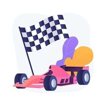 Ilustracja wektorowa abstrakcyjna koncepcja formuły 1. ekstremalna jazda, sport samochodowy, mistrzostwa sportów motorowych, oglądanie formuły 1, zawodowy zawodnik, duża prędkość, abstrakcyjna metafora wyścigów grand prix.