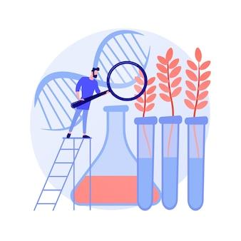Ilustracja wektorowa abstrakcyjna koncepcja genetycznie zmodyfikowanych roślin. uprawy modyfikowane genetycznie, rośliny gm, rolnictwo biotechnologiczne, dodanie nowej funkcji, hodowla gmo, transgeniczna abstrakcyjna metafora.