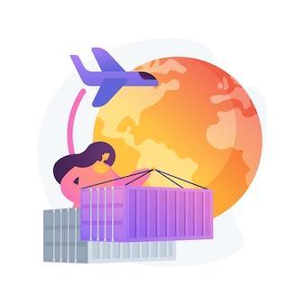 Ilustracja wektorowa abstrakcyjna koncepcja globalnego systemu transportu. logistyka na całym świecie, międzynarodowe usługi dostawcze, oprogramowanie do śledzenia przesyłek globalnych, abstrakcyjna metafora biznesu transportowego.