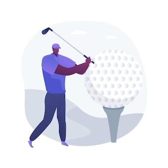 Ilustracja wektorowa abstrakcyjna koncepcja golfa. mistrzostwa świata w minigolfie, rekreacja na świeżym powietrzu, turniej klubów country, wypożyczalnia sprzętu, usługi treningu personalnego, abstrakcyjna metafora aktywnego stylu życia.