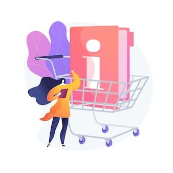 Ilustracja wektorowa abstrakcyjna koncepcja informacji dla konsumentów. prawo konsumenckie, polityka bezpieczeństwa prywatności, informacje finansowe, usługi marketingowe, ochrona kupujących, abstrakcyjna metafora zakupów online.