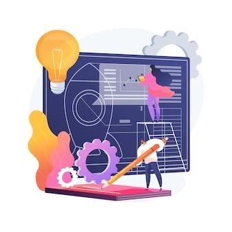 Ilustracja wektorowa abstrakcyjna koncepcja inicjacji projektu. dokumentacja projektowa, analiza biznesowa, wizja i zakres, określenie celów, przydział zadań, ramy czasowe i abstrakcyjna metafora osi czasu.