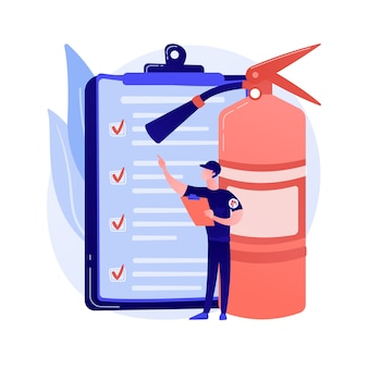 Ilustracja wektorowa abstrakcyjna koncepcja inspekcji pożarowej. alarm i wykrywanie pożaru, lista kontrolna inspekcji budynku, spełnienie wymagań, certyfikat bezpieczeństwa, metafora rocznej inspekcji.