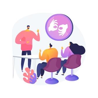 Ilustracja wektorowa abstrakcyjna koncepcja klasy języka migowego. nauka tłumaczenia na język migowy, podstawowa komunikacja bezdźwięczna, lekcje cichej mowy online, nauka abstrakcyjnej metafory alfabetu gestów.