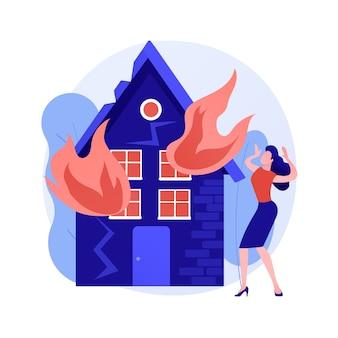 Ilustracja wektorowa abstrakcyjna koncepcja konsekwencji pożaru. konsekwencje pożarów, ofiar pożaru, obliczenia strat ekonomicznych majątku i biznesu, usługa oceny szkód, abstrakcyjna metafora.