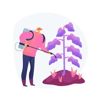 Ilustracja wektorowa abstrakcyjna koncepcja kontroli chwastów. pielęgnacja ogrodu, zwalczanie szkodników, środki chemiczne w sprayu, środki chwastobójcze, usługi pielęgnacji trawników, herbicyd i abstrakcyjna metafora pestycydów.