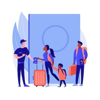 Ilustracja wektorowa abstrakcyjna koncepcja kontroli migracji. kontrola graniczna, nielegalna imigracja, dokumenty czekowe, formularz wniosku, odciski palców, napis covid-19, abstrakcyjna metafora paszportu.