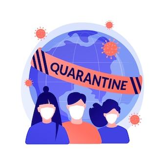 Ilustracja wektorowa abstrakcyjna koncepcja kwarantanny. samokwarantanna, izolacja podczas pandemii, wybuch koronawirusa, pobyt w domu, surowe środki rządowe, zrób swoją część abstrakcyjną metaforą.