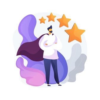 Ilustracja wektorowa abstrakcyjna koncepcja marki osobistej. samopozycjonowanie, indywidualna strategia marki, budowanie i promowanie marki osobistej, profil w mediach społecznościowych, blog, abstrakcyjna metafora reputacji.