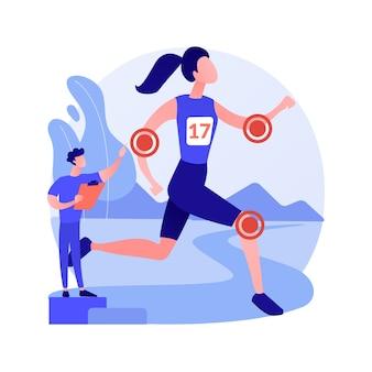 Ilustracja wektorowa abstrakcyjna koncepcja medycyny sportu. ortopedyczne usługi medyczne, lekarz specjalista, rehabilitacja po kontuzjach sportowych, leczenie bólu, medycyna dla sportowców - abstrakcyjna metafora.