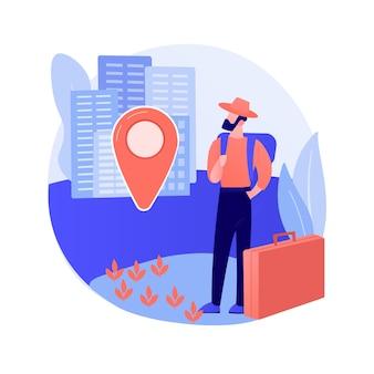 Ilustracja wektorowa abstrakcyjna koncepcja migracji obszarów wiejskich. przepływy migracyjne ze wsi do miast, ruchy ludzi, rozwój rolnictwa, wzrost liczby ludności, przenoszenie się do miast, abstrakcyjna metafora urbanizacji.