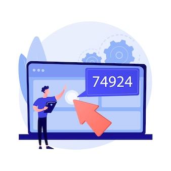 Ilustracja wektorowa abstrakcyjna koncepcja monetyzacji danych. strategia biznesowa związana z danymi, monetyzacja informacji, monetyzacja usług danych, sprzedaż bazy danych, źródło i abstrakcyjna metafora analizy.