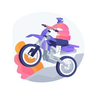 Ilustracja wektorowa abstrakcyjna koncepcja motocross. sport przygodowy, mistrzostwa motorsportu, wyścig motocyklowy, tor ekstremalny, rajd motorcross, motor terenowy enduro, kolarz rowerowy, abstrakcyjna metafora moto.