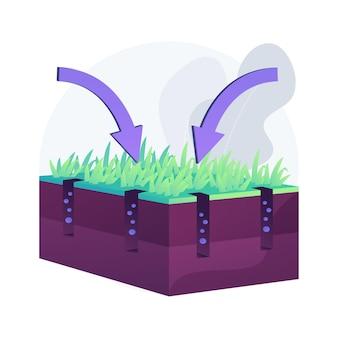 Ilustracja wektorowa abstrakcyjna koncepcja napowietrzania trawnika. przywróć trawnik, usługę dosiewania, wchłaniaj powietrze i wodę, nawożenie trawy, napowietrzacz, pielęgnacja ogrodu, abstrakcyjna metafora krajobrazu.