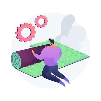 Ilustracja wektorowa abstrakcyjna koncepcja naprawy trawnika. usługi renowacyjne, usuwanie strzechy i mchu, trawnik wolny od chwastów, zagęszczenie gleby, strefa korzeniowa, nasiona traw, pielęgnacja murawy, abstrakcyjna metafora podwórka.