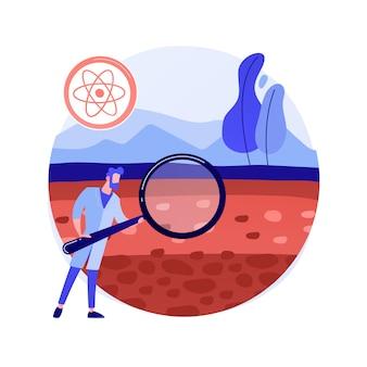 Ilustracja wektorowa abstrakcyjna koncepcja nauki o glebie. biologia i chemia gleby, nauki o środowisku, badania zasobów naturalnych, właściwości żyzności, gospodarowanie gruntami, abstrakcyjna metafora pedologii.