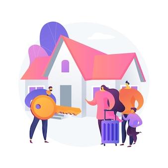 Ilustracja wektorowa abstrakcyjna koncepcja nieruchomości. agencja nieruchomości, rynek nieruchomości mieszkaniowych, przemysłowych, komercyjnych, portfel inwestycyjny, własność domu, abstrakcyjna metafora wartości nieruchomości.