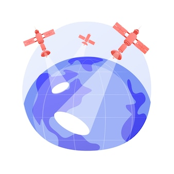 Ilustracja wektorowa abstrakcyjna koncepcja obserwacji ziemi. inżynieria kosmiczna, planetologia, usługi satelitarne, geoinformacja, stosowana obserwacja ziemi, teledetekcja abstrakcyjna metafora.