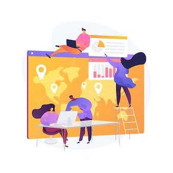 Ilustracja wektorowa abstrakcyjna koncepcja obsługi klienta. wsparcie techniczne, telemarketing, obsługa klienta, oprogramowanie do zarządzania, czat online, centrum pomocy, abstrakcyjna metafora infolinii dla kupujących.