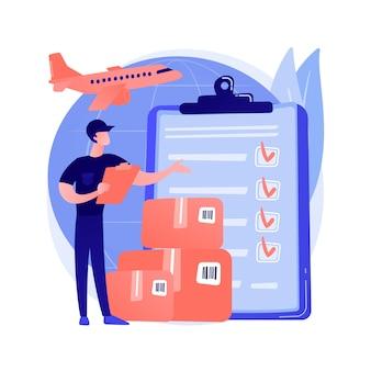 Ilustracja wektorowa abstrakcyjna koncepcja odprawy celnej. opłaty celne, ekspert ds. importu, licencjonowany pośrednik celny, deklaracja frachtowa, kontener na statek, abstrakcyjna metafora płatności podatku online.