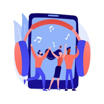 Ilustracja wektorowa abstrakcyjna koncepcja odtwarzania muzyki. technologia transmisji strumieniowej muzyki w internecie, nadawanie nagrań audio, odtwarzanie wideo z koncertów, abstrakcyjna metafora aplikacji telewizyjnej.