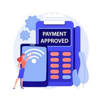 Ilustracja wektorowa abstrakcyjna koncepcja połączenia nfc. połączenie bankowe, komunikacja nfc, metoda płatności zbliżeniowych kartą, technologia bankowa, transakcja finansowa, abstrakcyjna metafora aplikacji płatniczej.