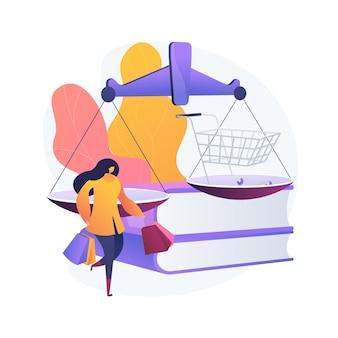 Ilustracja wektorowa abstrakcyjna koncepcja prawa konsumenckiego. spory konsumenckie, ochrona prawna, kancelaria prawna, umowa sądowa, wymiana wadliwego produktu, abstrakcyjna metafora praw kupujących.