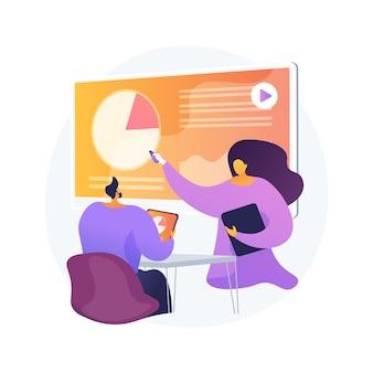 Ilustracja wektorowa abstrakcyjna koncepcja prezentacji cyfrowej. biuro online spotkanie, wizualna reprezentacja danych, konferencja biznesowa, edukacja, marketing cyfrowy, abstrakcyjna metafora wystąpień publicznych.