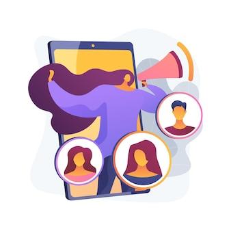 Ilustracja wektorowa abstrakcyjna koncepcja programu polecającego. metoda marketingu polecającego, rekomendacja znajomych, pozyskanie nowego klienta, promocja produktu, influencer w mediach społecznościowych, abstrakcyjna metafora lojalności.