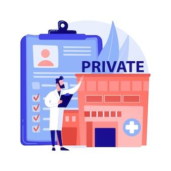 Ilustracja wektorowa abstrakcyjna koncepcja prywatnej opieki zdrowotnej. medycyna prywatna, ubezpieczenie zdrowotne, płatne usługi medyczne, przychodnia, konsultacje specjalistyczne, abstrakcyjna metafora placówki.