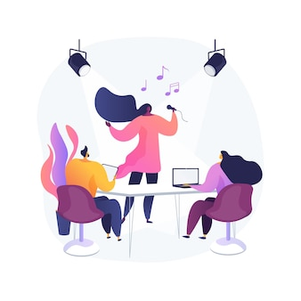 Ilustracja wektorowa abstrakcyjna koncepcja przesłuchania roli. przesłuchanie aktora, pokaz umiejętności aktorskich, zdjęcia, główna obsada, poszukiwanie talentów, wywiad wprowadzający, abstrakcyjna metafora roli głównej.
