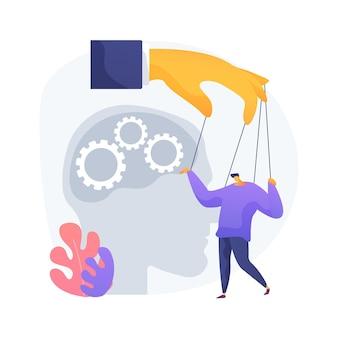 Ilustracja wektorowa abstrakcyjna koncepcja psychologicznej manipulacji. przemoc psychiczna, mroczna psychologia, szantaż emocjonalny, inżynieria społeczna, efekt gazu, abstrakcyjna metafora manipulacji mózgiem.