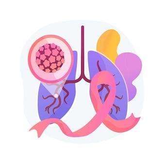 Ilustracja wektorowa abstrakcyjna koncepcja raka płuc. diagnostyka wczesnego stadium onkologii, czynnik ryzyka nowotworu, leczenie raka płuca, walka z chorobą, terapia chemiczna, abstrakcyjna metafora onkologii.
