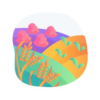 Ilustracja wektorowa abstrakcyjna koncepcja rolnictwa biodynamicznego. rolnictwo ekologiczne, żyzność gleby, wzrost roślin, pielęgnacja bydła, kalendarz siewu i sadzenia, abstrakcyjna metafora produkcji nasion.
