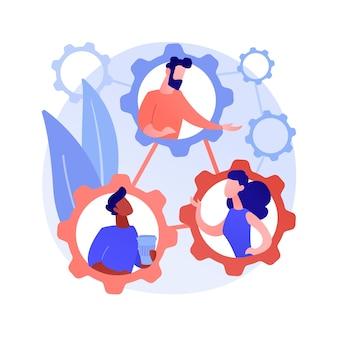 Ilustracja wektorowa abstrakcyjna koncepcja rozwoju społecznego. dzieci uczą się, kompetencje społeczne, pozytywny wpływ, skuteczna komunikacja, sukces zawodowy, abstrakcyjna metafora edukacji.