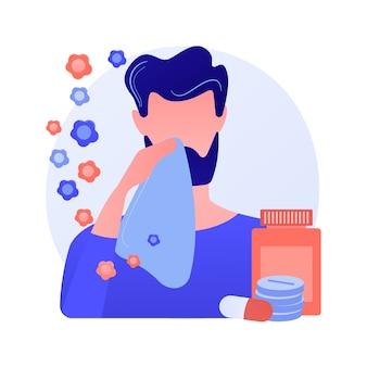 Ilustracja wektorowa abstrakcyjna koncepcja sezonowej alergii. immunoterapia alergii na pyłki, diagnostyka chorób alergicznych, sezonowe testy alergiczne, przekrwienie błony śluzowej nosa, poradnictwo specjalistyczne - abstrakcyjna metafora.