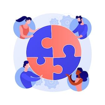 Ilustracja wektorowa abstrakcyjna koncepcja stosunków międzyludzkich. sukces zawodowy, relacje społeczne, uścisk dłoni biznesmena, budowanie zespołu, udział we współpracy, zasoby ludzkie, abstrakcyjna metafora firmy.