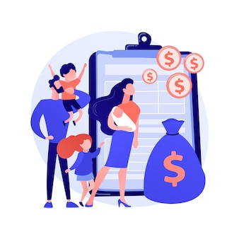 Ilustracja wektorowa abstrakcyjna koncepcja świadczenia rodzinnego. ulga podatkowa rodzinna, płatność na dziecko, pomoc w wychowaniu dzieci, wsparcie ekonomiczne, agent ubezpieczeniowy, skarbonka, abstrakcyjna metafora pieniędzy.