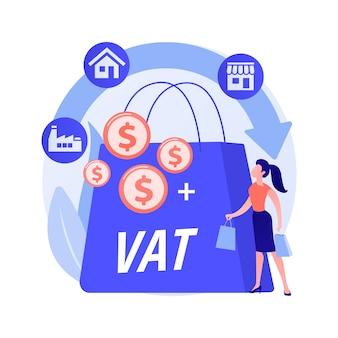 Ilustracja wektorowa abstrakcyjna koncepcja systemu podatku od wartości dodanej. walidacja numeru vat, globalna kontrola podatkowa, system podatku konsumpcyjnego, wartość dodana, abstrakcyjna metafora całkowitego kosztu zakupu towarów detalicznych.