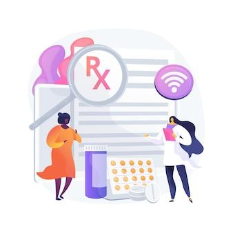 Ilustracja wektorowa abstrakcyjna koncepcja systemu recept online. internetowy system recept lekarskich, elektroniczne recepty, apteka internetowa, e-recepty, cyfrowa metafora żądań.