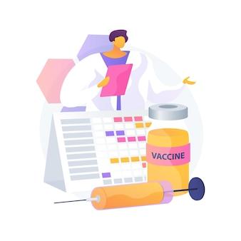 Ilustracja wektorowa abstrakcyjna koncepcja szczepień. plan profilaktyki, profilaktyka chorób zakaźnych, plan szczepień dzieci, abstrakcyjna metafora kalendarza szczepień dorosłych.